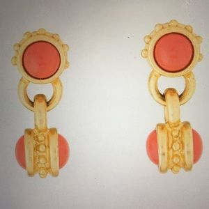 Vintage KENNETH JAY LANE Goldtone & Coral Earrings